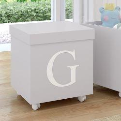 Caixa Organizadora para Brinquedos Cinza com Inicial do Nome Personalizada