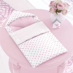 Porta Bebê com Capuz Patchwork Rosa