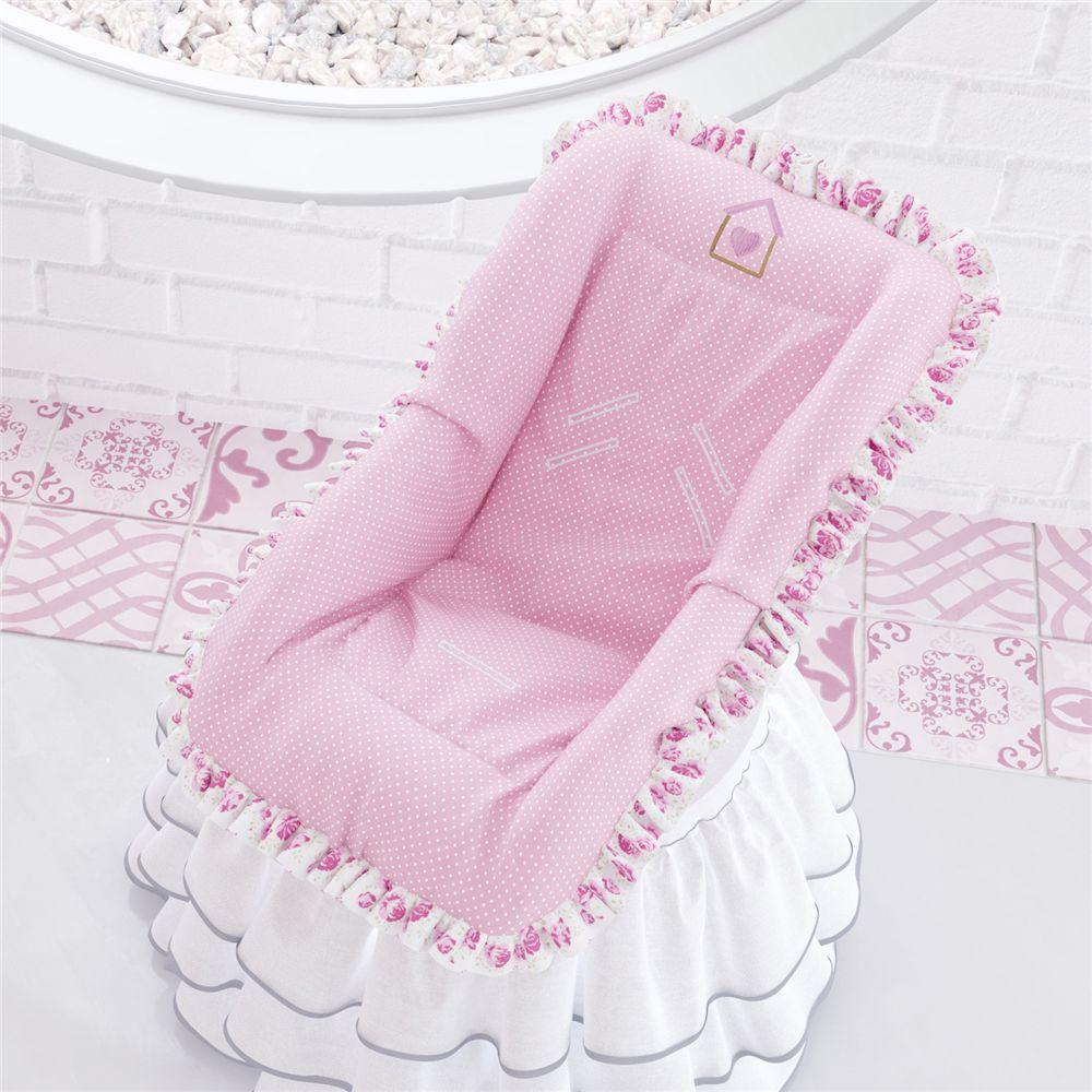 Capa para Bebê Conforto Patchwork Rosa Grão de Gente