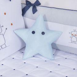 Almofada Estrela com Botões Azul 30cm