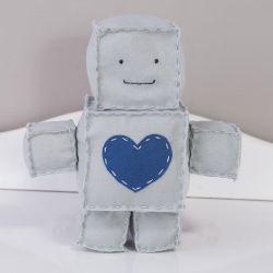 Boneco de Feltro Robô Cinza 25cm