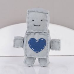 Boneco de Feltro Robô Cinza 15cm