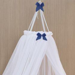 Mosquiteiro Dossel Voil Laço Azul Marinho