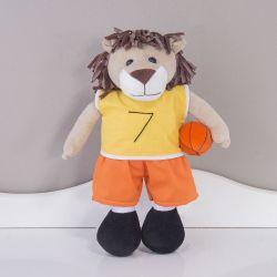 Boneco de Pano Leão Jogador de Basquete 36cm