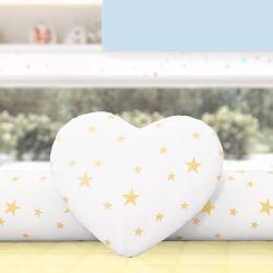 Almofada Coração Estrelinhas Amarelo 28cm
