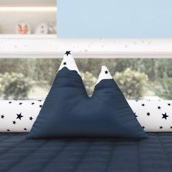 Almofada Montanhas Estrelinhas Azul Marinho 39cm