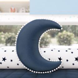 Almofada Lua Pompom Azul Marinho 28cm