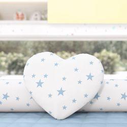 Almofada Coração Estrelinhas Azul