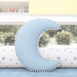 Almofada Lua Pompom Azul
