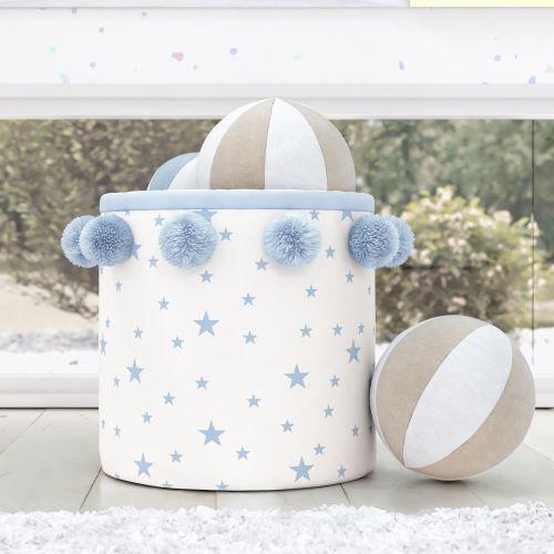 Cesto Organizador para Brinquedos Estrelinhas Pompom Azul 35cm
