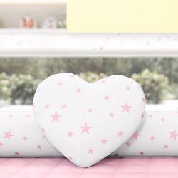 Almofada Coração Estrelinhas Rosa 28cm