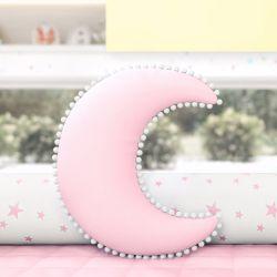 Almofada Lua Pompom Rosa