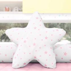 Almofada Estrela Estampada Rosa 30cm