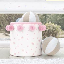 Cesto Organizador para Brinquedos Estrelinhas Pompom Rosa 35cm