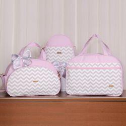 Conjunto de Bolsas Maternidade Chevron Rosa