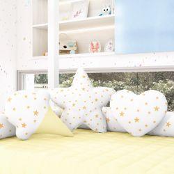 Almofadas Estrelinhas Sorvete + Estrela + Coração Amarelo 3 Peças