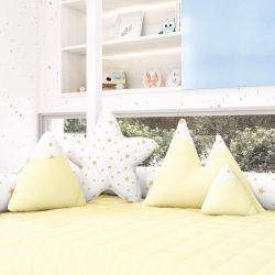 Almofadas Estrelinhas Montanhas + Estrela Amarelo 4 Peças