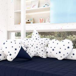 Almofadas Estrelinhas Sorvete + Estrela + Coração Azul Marinho 3 Peças