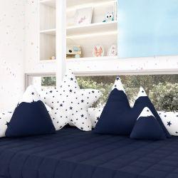 Almofadas Estrelinhas Montanhas + Estrela Azul Marinho 4 Peças
