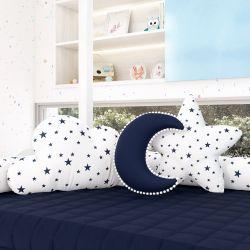 Almofadas Estrelinhas Nuvem + Lua + Estrela Azul Marinho 3 Peças
