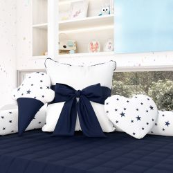 Almofadas Decorativas Estrelinhas Azul Marinho