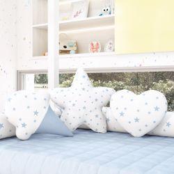 Almofadas Estrelinhas Sorvete + Estrela + Coração Azul 3 Peças