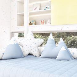 Almofadas Estrelinhas Montanhas + Estrela Azul 4 Peças
