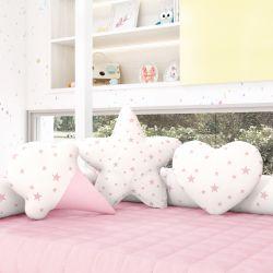 Almofadas Estrelinhas Sorvete + Estrela + Coração Rosa 3 Peças