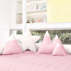 Almofadas Estrelinhas Montanhas + Estrela Rosa 4 Peças