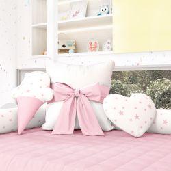 Almofadas Decorativas Estrelinhas Rosa