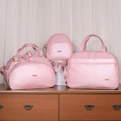Conjunto de Bolsas Maternidade Metalizado Rosé