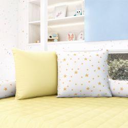 Almofadas Quadradas Estrelinhas Amarelo