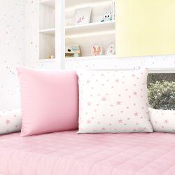 Almofadas Quadradas Estrelinhas Rosa
