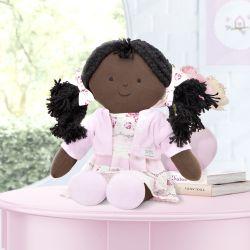 Boneca de Pano Negra Naná Patchwork Rosa