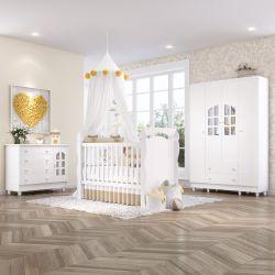 Quarto de Bebê Berço Branco + Cômoda c/ Porta + Guarda Roupa 4 Portas Julie