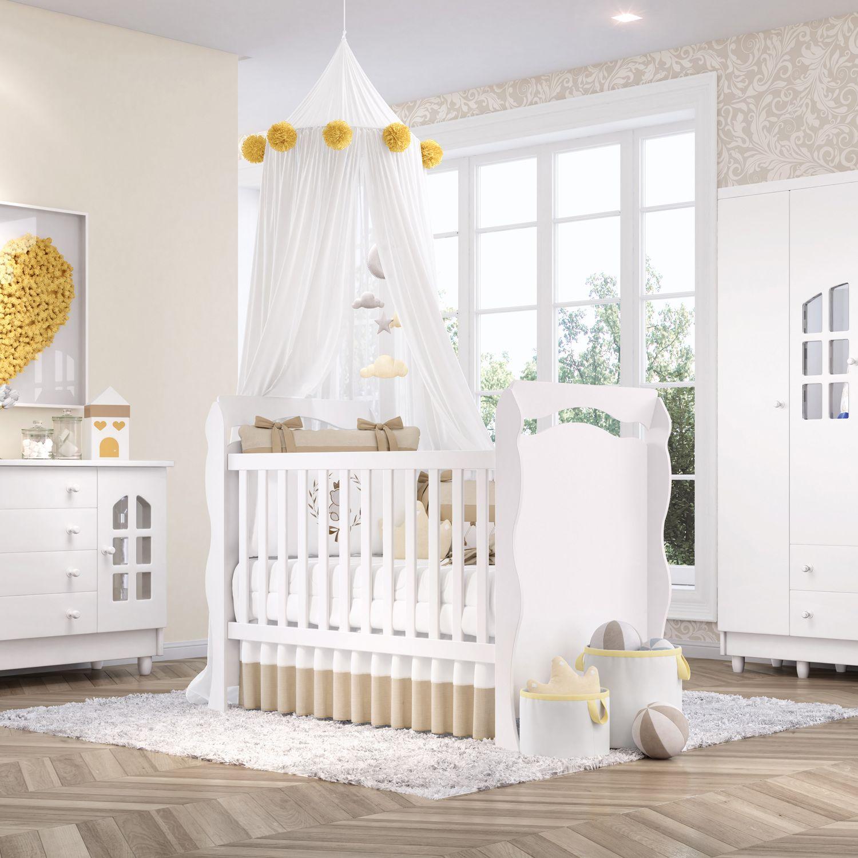 6a6d66bfd8 Quarto de Bebê Julie com Berço Cômoda Guarda-Roupa 4 Portas