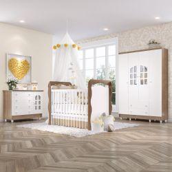 Quarto de Bebê Berço Madeira + Cômoda c/ Porta + Guarda Roupa 4 Portas Julie