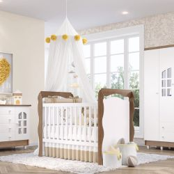 Quarto de Bebê Julie Amadeirado com Berço/Cômoda/Guarda-Roupa de 4 Portas
