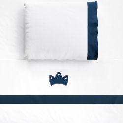 Jogo Lençol de Berço Bordado Coroa Girafinha Clássica Azul Marinho 3 peças