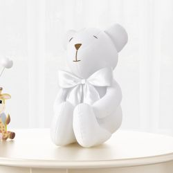 Urso Branco com Laço Cetim 42 cm