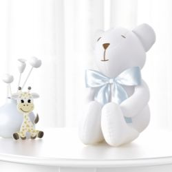 Urso Branco com Laço Cetim Azul 42 cm