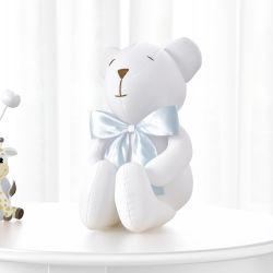 Urso Branco e Azul Clássico 42cm