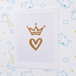 Quadro Coração com Coroa Branco 33cm