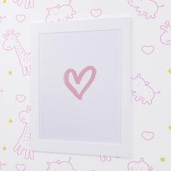 Quadro Coração Branco e Rosa 35cm