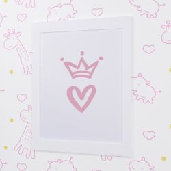 Quadro Coração com Coroa Branco e Rosa 33cm