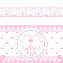 Faixa Adesiva de Parede Girafinha Clássica Rosa