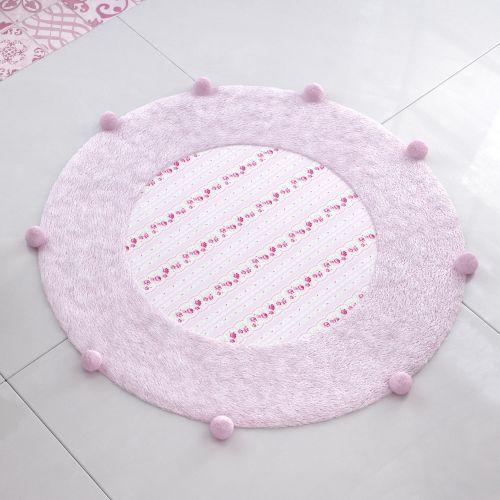 Tapete Redondo Pompom Patchwork Rosa 1,35m