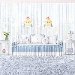 Kit Cama Babá Patchwork Azul