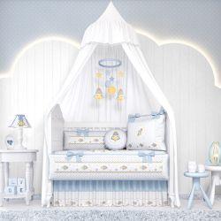 Quarto de Bebê Patchwork Azul 20 Peças