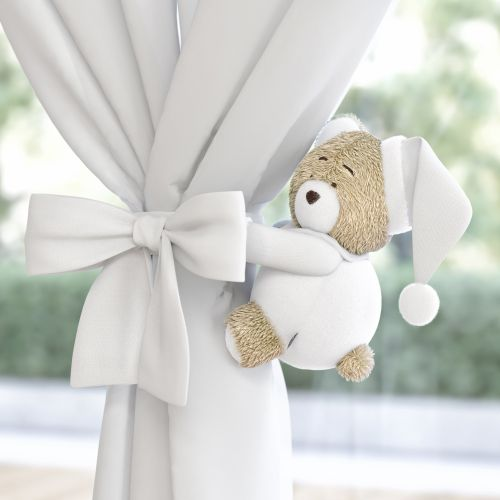 Prendedor de Cortina Ursinho Branco Clássico 2 Peças